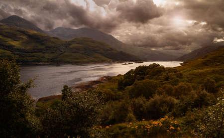 loch: Heavy cloud hangs over Loch Shiel in the Scottish Highlands