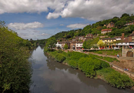 severn: A view taken from the famous iron bridge of the river Severn, looking upstream at Ironbridge in Shropshire, England  Stock Photo