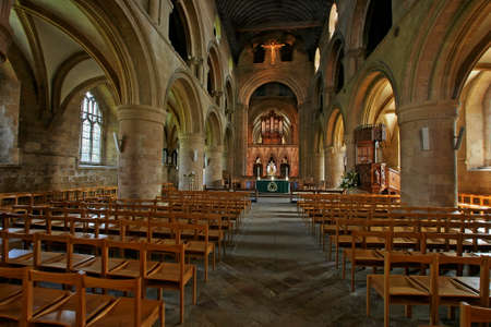 nave: The nave of Southwell Minster in Nottinghamshire, England, which was built in the eleventh century.