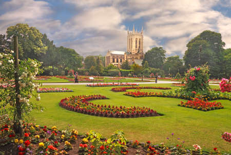 A view of St Edmundsbury Cathedral viewed from the Abbey gardens at Bury St Edmunds in Suffolk, England.