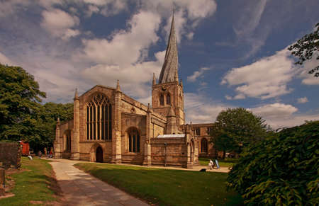 The crooked spire on Chesterfield parish church is a notable feature of the Derbyshire landscape.