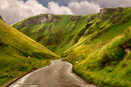 The road at Winnats Pass in Derbyshire England is with its twenty eight percent gradient unsuitable for large vehicles.