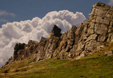 Windgather Rocks are in the Peak District National Park on the Derbyshire Cheshire border. On a personal note, I first came here as a boy in about nineteen fourty, and it has taken me over seventy years to rediscover it. Banco de Imagens - 25863447