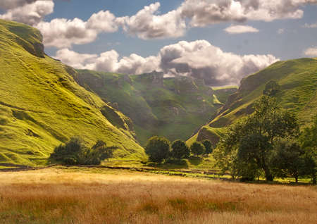 Winnats Pass in the Peak District National Park is a dramatic feature in Derbyshire, England. photo