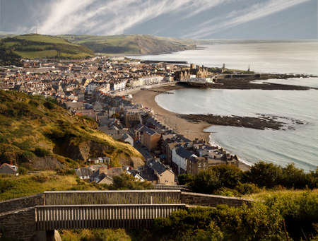 View of Aberystwyth and its position on the Welsh coast go to the top of Costitution Hill. This can be accomplished by taking a trip on the cliff railway.