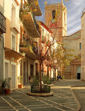old quarter: The streets in the old quarter of Villajoyosa are very Spanish, and completely different to the nearby modern tourist hotels  Stock Photo