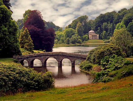 Stourhead gardens in Wiltshire, England are now under the care of The National Trust
