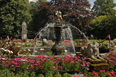 water feature: This water feature is in a park in Lichfield Staffordshire, England. Stock Photo