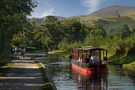 horse drawn: Horse drawn boat trips regularly take place on the pisturesque Llangollan canal in Wales.