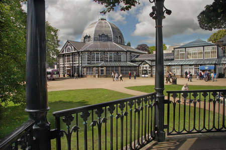 bandstand: The Pavilion at the park in Buxton, Derbyshire, England as seen from the bandstand. Editorial
