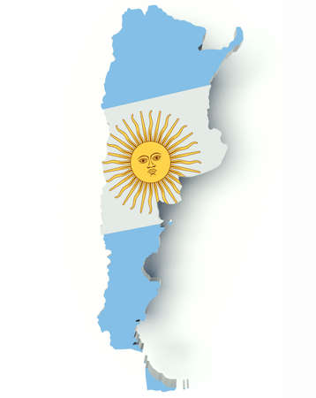 map of argentina: Map of Argentina with flag colors. 3d render illustration. Stock Photo