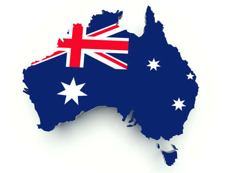 Map of Australia with flag colors. 3d render illustration.