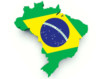 brasil: Map of Brazil with flag colors. 3d render illustration.