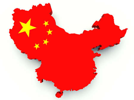 Map of China with flag colors. 3d render illustration.