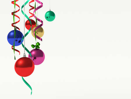 empty space for text: Christmas baubles hanging. Christmas background with empty space for your text. Stock Photo