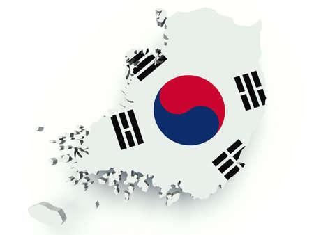 플래그 색으로 대한민국 (한국)의지도. 3 차원 렌더링 그림. 스톡 콘텐츠