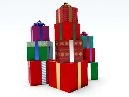 Stacks of gift boxes.