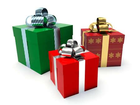 three gift boxes: Gift boxes. Stock Photo