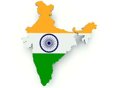 india 3d: Map of India with flag colors. 3d render illustration.