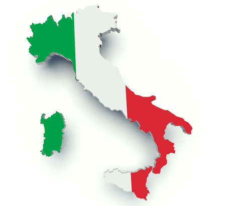 Map of Italy with flag colors. 3d render illustration.