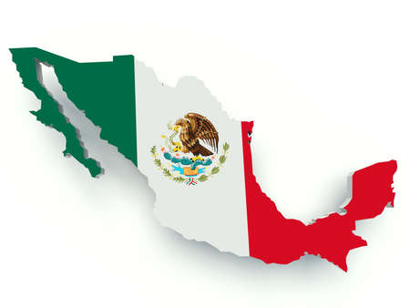 Map of Mexico with flag colors. 3d render illustration. 版權商用圖片