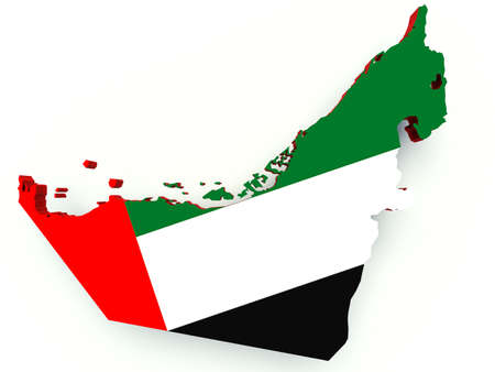 emirates: Map of United Arab Emirates with flag colors. 3d render illustration. Stock Photo