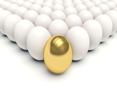 Golden egg among white eggs. 3d render illustration. illustration