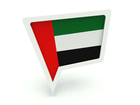 localization: Bubble speech with the flag of the United Arab Emirates. 3d render illustration. Stock Photo