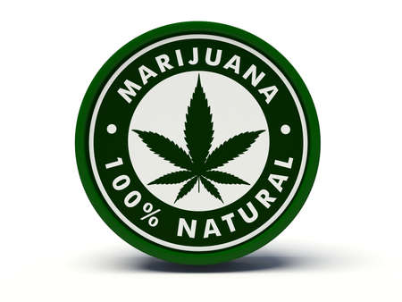 thc: Marijuana 100% natural label. 3d illustration.