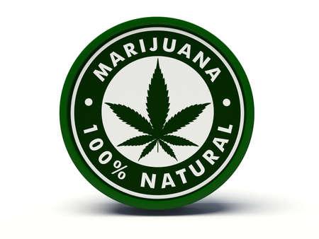 hallucinogen: Marijuana 100% natural label. 3d illustration.