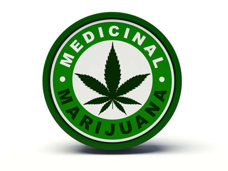 marijuana: Medicinal marijuana. 3d illustration. Stock Photo