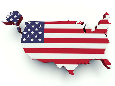 Map of the United States of America with flag colors. 3d render illustration. Фото со стока