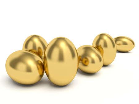golden eggs: Golden eggs. 3d render illustration.