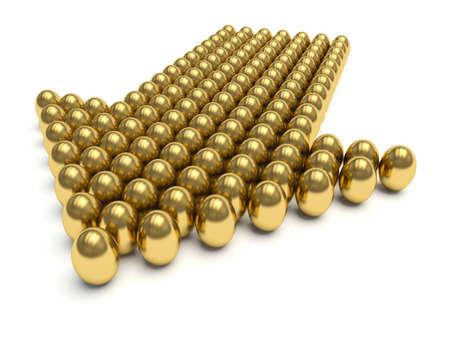 affluence: Golden eggs aligned forming an arrow . 3d render illustration.