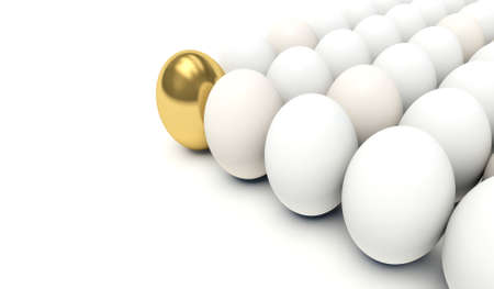 White eggs with golden egg in the first place. 3d render illustration.