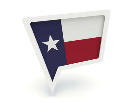 localization: Bubble speech with the flag of Texas (the Lone Star Flag). 3d render illustration.