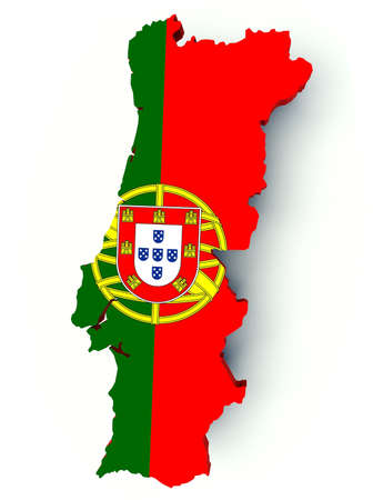 Map of Portugal with flag colors. 3d render illustration.