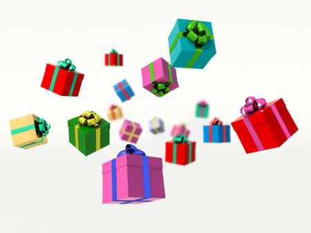 Christmas gift boxes. 3d render illustration.
