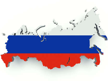 Map of Russia with flag colors. 3d render illustration.
