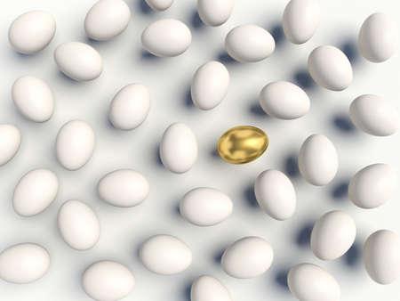 sheeny: Golden egg among white eggs. 3d render illustration.