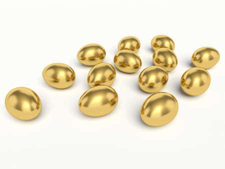 affluence: Golden eggs. 3d render illustration.