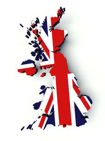 uk flag: Map of United Kingdom with flag colors. UK 3d render illustration.