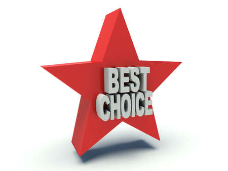 wry: Advertising words Best Choice on star. 3d render illustration. Stock Photo