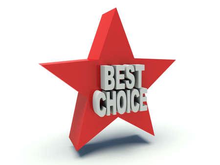Advertising words Best Choice on star. 3d render illustration. Stock Photo