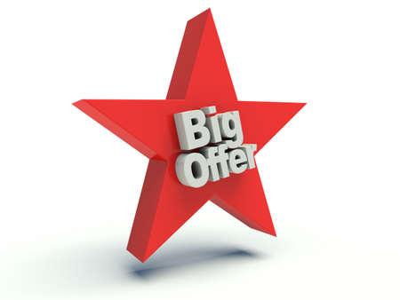 Advertising words Big offer on star. 3d render illustration.