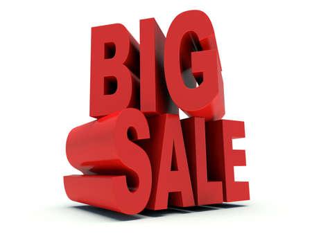 Advertising words Big Sale. 3d render illustration.