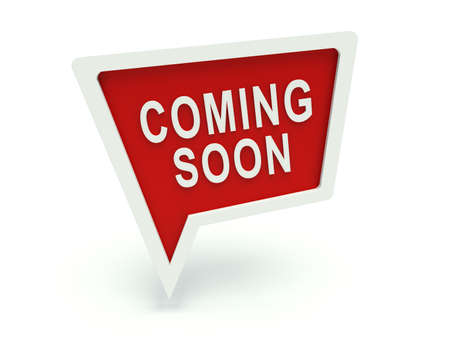 announcement icon: Advertising bubble speech sign Coming soon Stock Photo