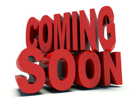 coming: Advertising words Coming Soon in red. 3d render illustration. Stock Photo