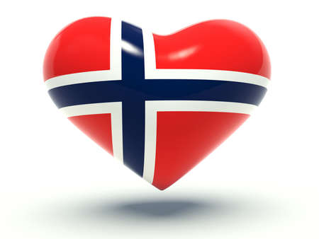 norwegian flag: Heart with Norway flag colors. 3d render illustration.