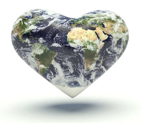 humankind: Planet Earth with the shape of a heart. 3d render illustration